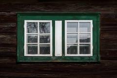 Pribis village in Orva region. Window of a traditional log cabin in Orava region, Slovakia stock image