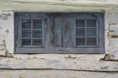 Pribis village in Orva region. Window of a traditional log cabin in Orava region, Slovakia stock photography