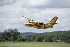 Pribram, Czech Republic -8th August 2011.  Yellow Aircraft L410 for parachuting. Royalty Free Stock Photos