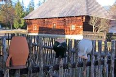 Pribylina - openluchtmuseum bij gebied Liptov, Slowakije Stock Foto's