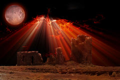 Price. Ruins under blood red sky and moon