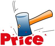 Price. Hammer smashing down sales price-illustration,vector Stock Image