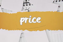 Price against brainstorm covered by white paper Royalty Free Stock Photo
