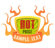 Price badge 2. Burning price badge, representing a hot deal or low price Stock Photo