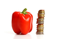 The price of bell peppers Stock Image