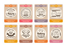 Price cards with different types of bread. Labels for bakery shop. Vector retro illustrations in hand drawn style Stock Image