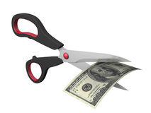 Price Cut. 3d image of dollar currency and scissors cutting Stock Image