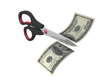 Price Cut. 3d image of dollar currency and scissors cutting Royalty Free Stock Photos