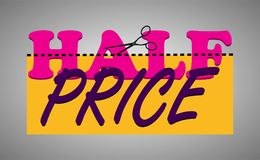 Price cut and Half price stickers. Vector. Vector illustration EPS 10 royalty free illustration