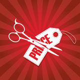 Price cut reduction poster design with scissors. And pricetage in half. Red gradient rays background. Eps10 vector illustration royalty free illustration