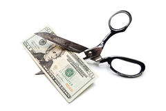 Price Cut Twenty Dollar Bill with Scissors Royalty Free Stock Image