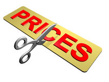 Price Cutting. A pair of scissors cutting through prices Stock Photography