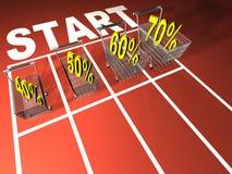 Price cutting. Conceptual shopping basket with price cutting simbols at start stock illustration