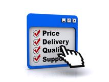 Price delivery quality support Stock Photography