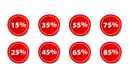 Price discount percentage red sticker sign Royalty Free Stock Photography