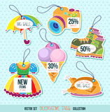 Price and discount tags. Silhouette of product vector illustration