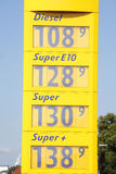 Price display at a petrol station Royalty Free Stock Images