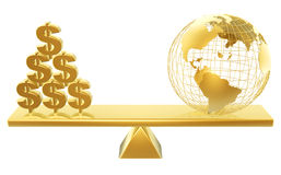 Price of dollars and world Stock Image