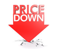 Price down concept. Price down mark isolated on white background Stock Image