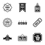 Price down icons set, simple style Royalty Free Stock Photography