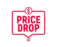 Price drop icon, lower cost reduction. Loss market sale concept, discount sign.  royalty free illustration