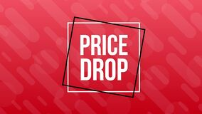 Price drop web banner. Sale tag, Banner design template. Motion graphics.