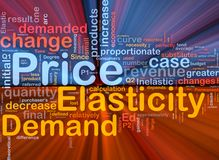Price elasticity background concept glowing. Background concept wordcloud illustration of price elasticity demand glowing light Royalty Free Stock Images