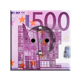Price of electricity. A grounded European (type F) electric socket with 500 euro bill decal, depicting the price of electricity Royalty Free Stock Images