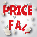 Price fall sale white red design Royalty Free Stock Images