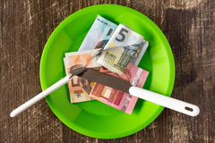 Price of food and eating wealth.Conceptual image. Royalty Free Stock Images