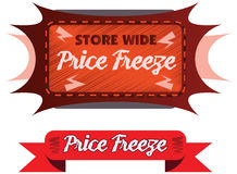 Price Freeze announcement message in  label Royalty Free Stock Photos