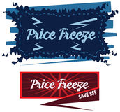 Price Freeze announcement message in  label Royalty Free Stock Photography