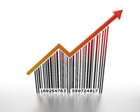 Price going up. Generic barcode with arrow pointing up Stock Image