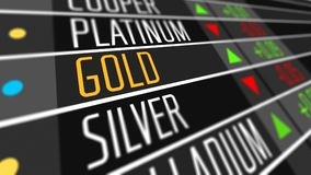 Price of gold on the stock market. Stock Photos