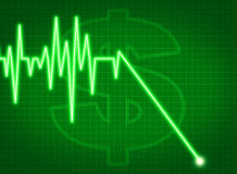 Price graph chart moving down ekg business Royalty Free Stock Images