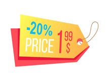 Price Label with Info about Discounts Final Cost. Price label with info about discounts and final cost hanging arrow shape label shopping tag isolated on white Stock Photo
