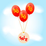 Price labels. Lettering sale on label. Inscriptions 30%, 50%, 70%on balloons . Vector illustration Royalty Free Stock Photos