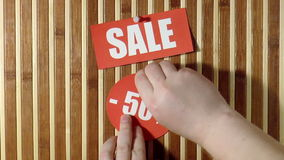 Price labels. Sale stock footage