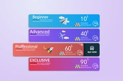 Price list set, Tariff plan, Pricing table for business. Clean modern UI UX design template, royalty free illustration