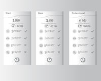 Price list,  three tariffs.  Set tariffs. Interface for the site. Royalty Free Stock Photos