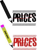 Price markdown. Clip art for retail and wholesale store for price reduction royalty free illustration