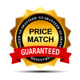Price Match Guarantee Gold Label Sign Template. Vector Illustration stock illustration