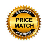 Price Match Guarantee Gold Label Sign Template. Vector Illustration Stock Photos