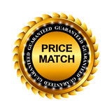 Price Match Guarantee Gold Label Sign Template. Vector Illustration Stock Image