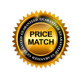 Price Match Guarantee Gold Label Sign Template. Vector Illustration Stock Photography