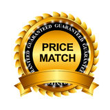 Price Match Guarantee Gold Label Sign Template Stock Photography