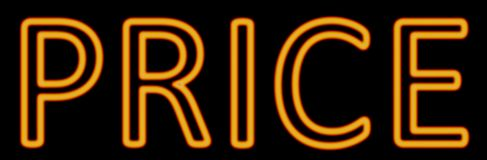 Price neon sign. Abstract 3d rendered words price orange neon sign on black background Royalty Free Stock Image
