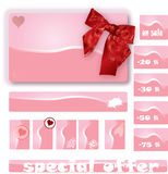 Price note. Illustration of pink price tags with hearts flowers and discount stock illustration