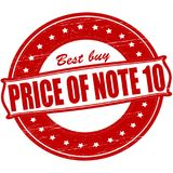 Price of note ten. Stamp with text price of note ten inside,  ilustration stock illustration