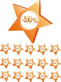 Price off. Orange collage of price off icons ranged from -10 precent to 90 percent and one icon of free Royalty Free Stock Photo